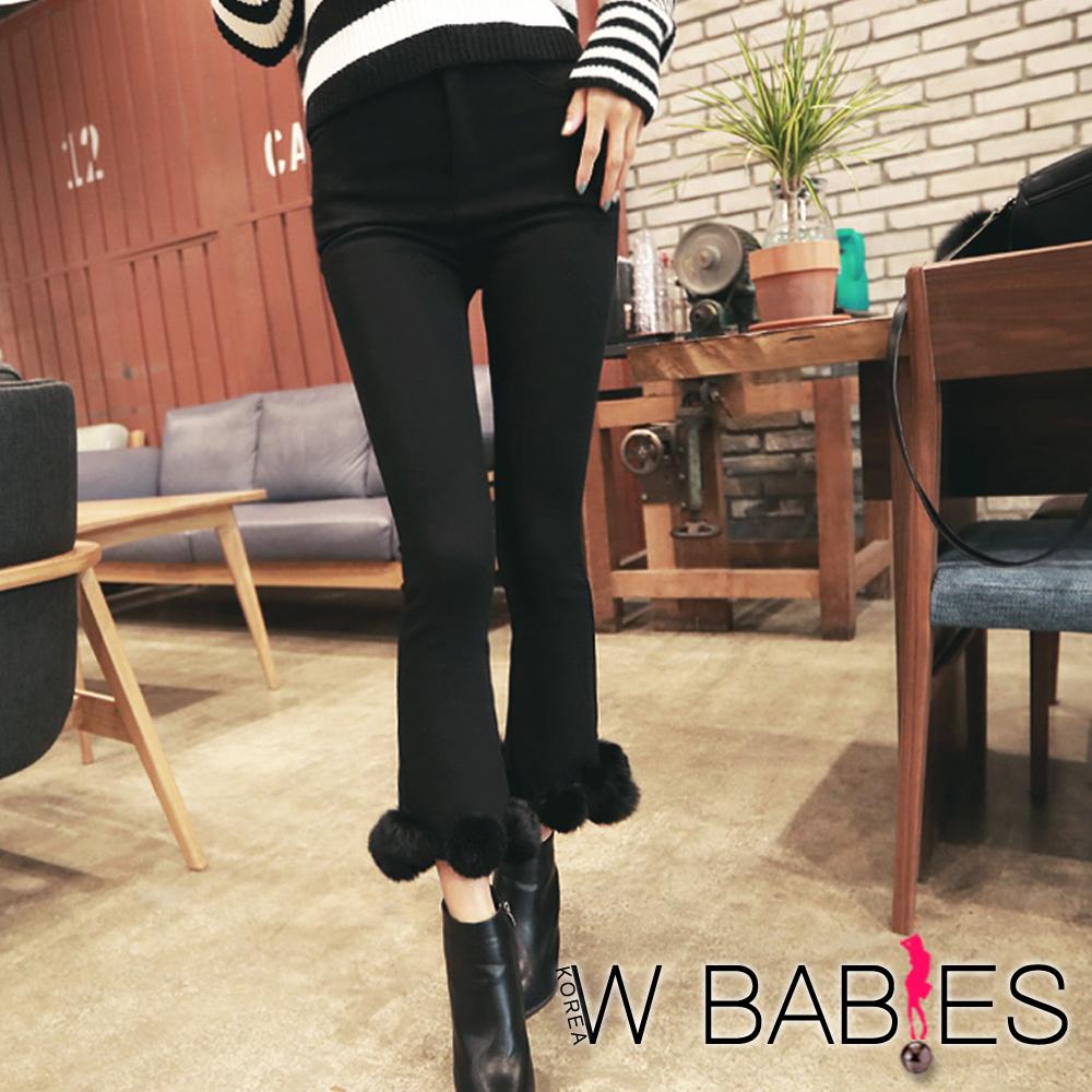 正韓 保暖內刷兔毛球球喇叭長褲 (共二色)-W BABIES