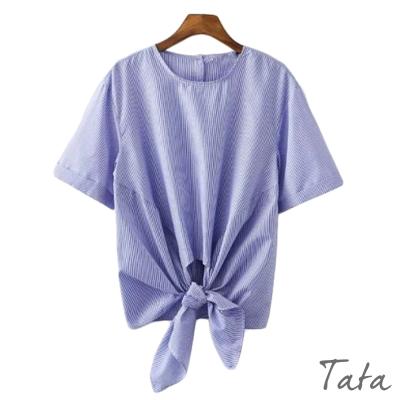 短袖條紋打結襯衫-TATA