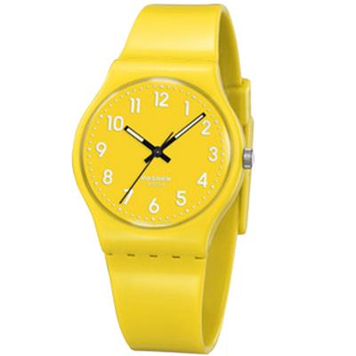 PASNEW 輕巧炫彩指針腕錶-活力黃/34mm