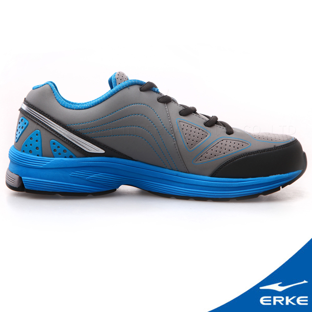 ERKE 鴻星爾克。男運動常規慢跑鞋-鋼灰/碧藍
