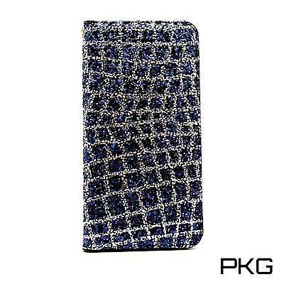 PKG Apple iPhone7/8 Plus  側翻式皮套-閃亮鑽皮套-藍