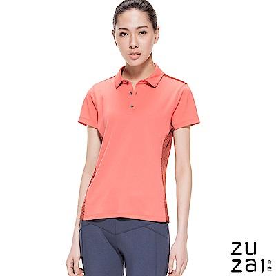 zuzai 自在瞬涼透氣短袖POLO衫-女-珊瑚紅色
