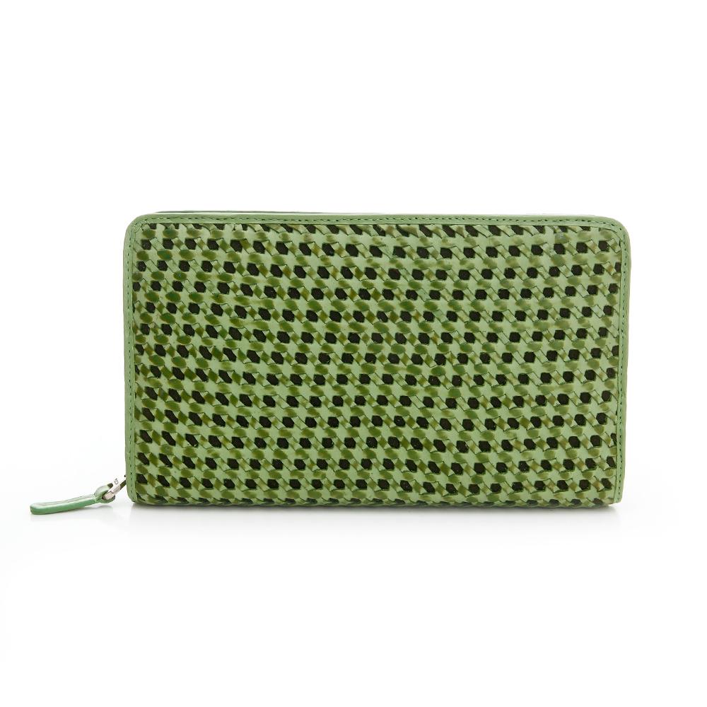 YUCCA- 六角形雙色鏤空編織牛皮手拿包 - 墨綠色 D0033043C55