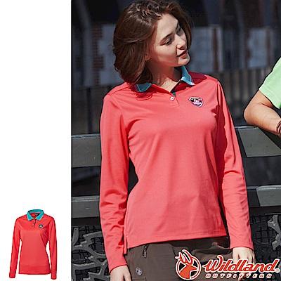 Wildland 荒野 0A61619-15珊瑚紅 女Coolmax長袖POLO衣