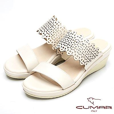 CUMAR真皮特殊簍空設計厚底台涼鞋-米白