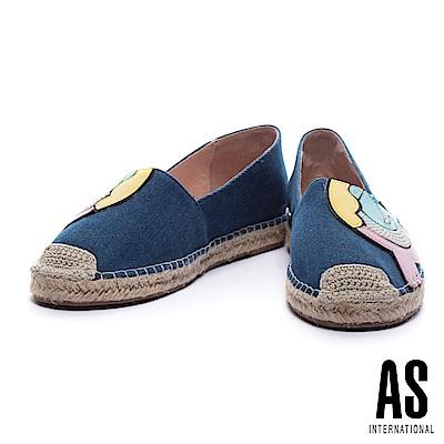 休閒鞋-AS-俏皮活潑珍珠皮革拼接設計牛仔草編厚底