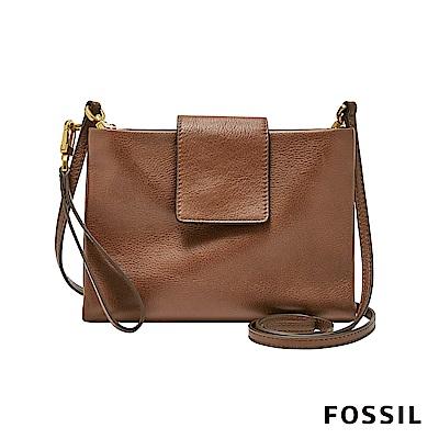 FOSSIL  CARLY 帶扣輕便真皮小方包-咖啡色