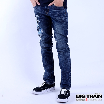 BIG TRAIN 鯉魚小直筒褲-男-中藍
