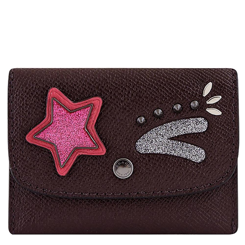COACH 深咖啡色防刮皮革星星徽章鉚釘證件名片短夾 @ Yahoo 購物