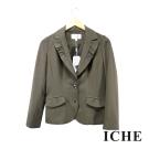 Chaber巧帛 百搭荷葉翻領造型綠西裝外套