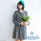 betty's貝蒂思 復古印花領口綁結長袖雪紡洋裝(綠色)