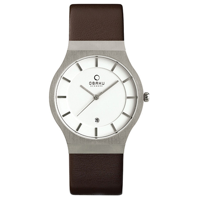 OBAKU 極簡時代優雅時尚腕錶-白x咖啡色錶帶/38mm