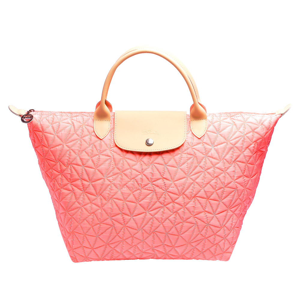 LONGCHAMP LE PLIAGE ILLUSION三角幾何花紋短把購物包-中-珊瑚紅LONGCHAMP