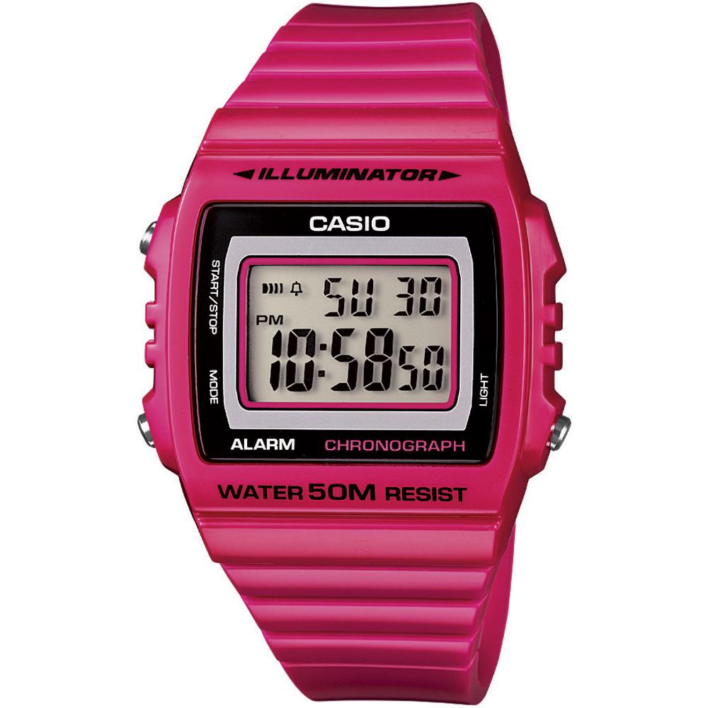 CASIO 超亮LED大螢幕方形數位錶-熱血紅(W-215H-4A)/40mm