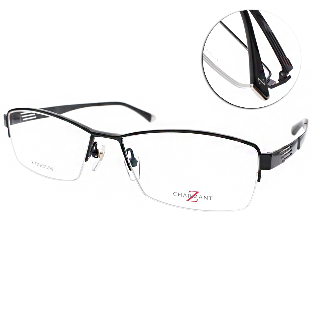 CHARMANT-Z眼鏡 時尚半框/黑#CZT19837 BK