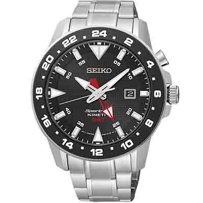 SEIKO Sportura GMT 大錶徑人工動能運動錶(SUN015P1)-黑/45mm