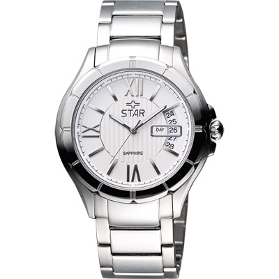 STAR 轉動時光藍寶石水晶時尚腕錶-銀/40mm