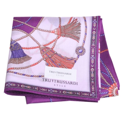 TRUSSARDI 經典品牌流蘇圖騰LOGO大帕領巾(紫)