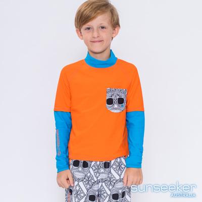 澳洲Sunseeker泳裝抗UV防曬立領長袖假兩件式泳衣-大男童上衣/亮橘