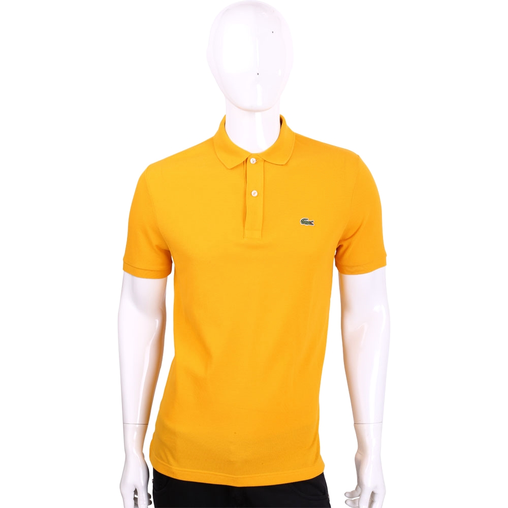 LACOSTE Slim Fit 橘黃色網眼修身短袖POLO衫(男款)