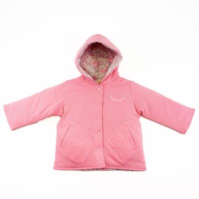 愛的世界 MYBABY 純棉小熊甜心舖棉兩面穿連帽外套/1~3歲