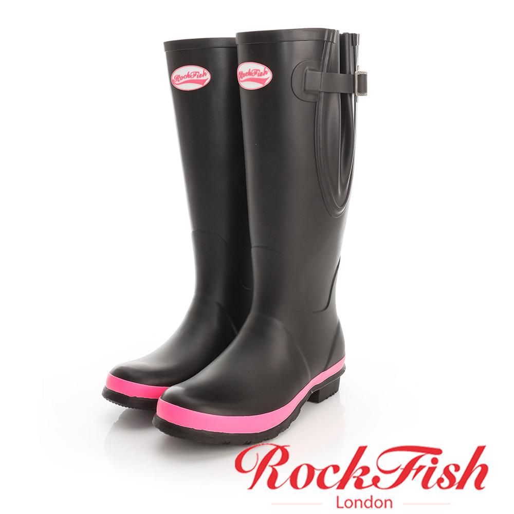ROCKFISH 經典霧面長筒雨靴 女爵系列 黑x桃