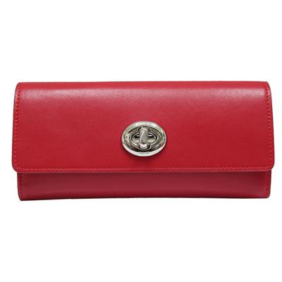 COACH-旋扣雙折皮革長夾-鮮紅色