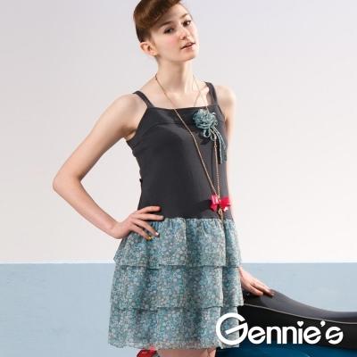 【Gennie's奇妮】小花滿點蛋糕裙雪紡春夏孕婦背心洋裝 (G2510)-M