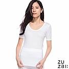 zuzai 自在親膚羽感短袖保暖衣-女-白色