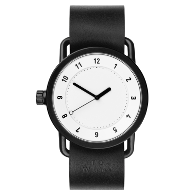 TID Watches No.1 White 白底x黑色真皮錶帶-40mm