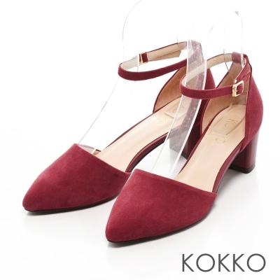 KOKKO真皮法式優雅繫踝粗跟鞋瑪莉紅