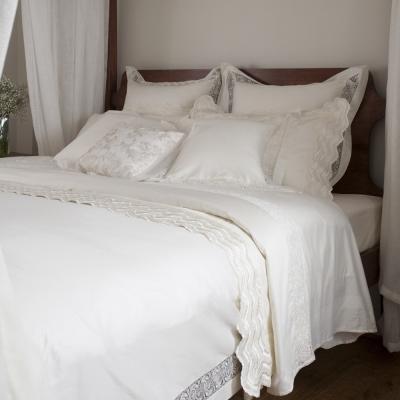 BBL 藏愛100%精梳棉.蕾絲素色雙人四件式床包組