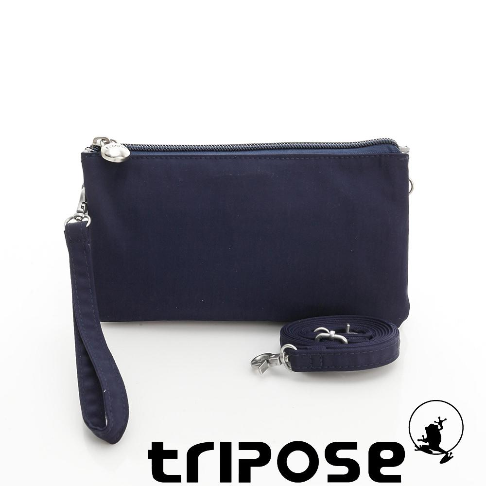tripose 漫遊系列岩紋簡約微旅手拿/側肩包 藍