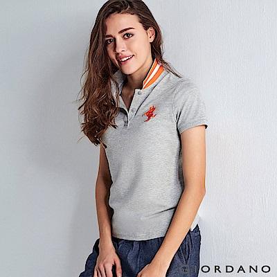GIORDANO 女裝拿破崙立體刺繡彈力萊卡短袖POLO衫-03 中花灰