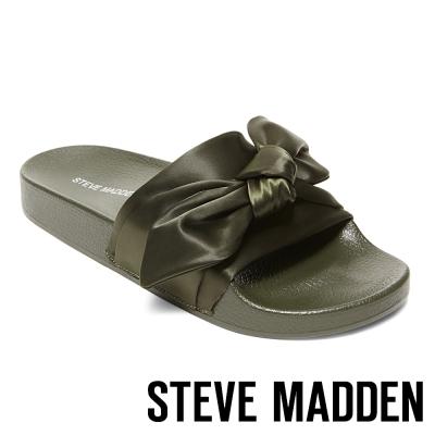 STEVE MADDEN-SILKY-OLIVE 緞面蝴蝶結厚底拖-墨綠