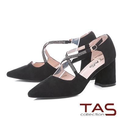 TAS復古交叉水鑽麂皮尖頭跟鞋-氣質黑