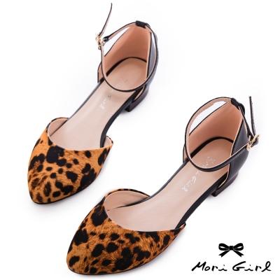 Mori girl時髦街頭-撞色繫踝低跟鞋  豹紋