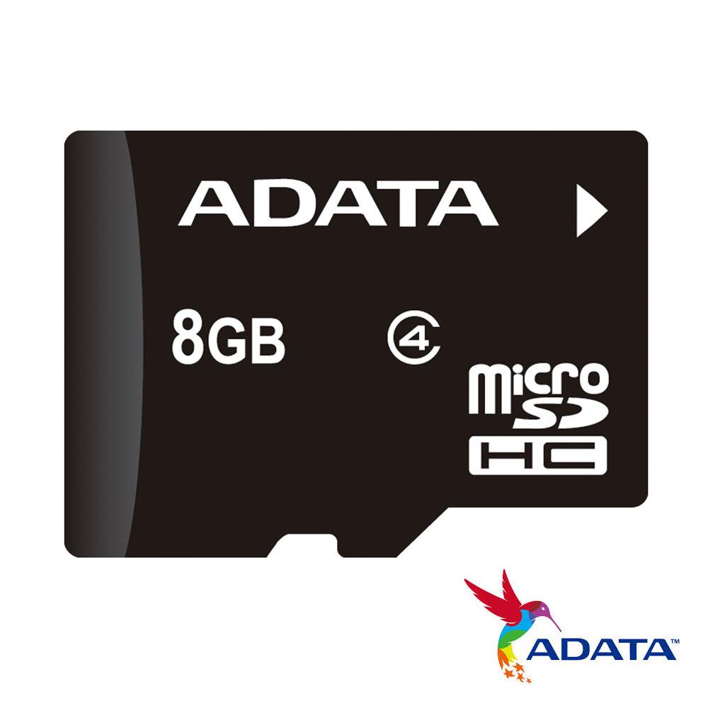 ADATA威剛 microSDHC Class4 8G記憶卡(附轉卡)