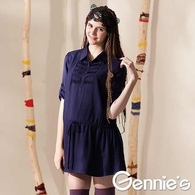 Gennie's奇妮-襯衫式七分袖抽繩綁帶孕婦長版上衣(G3412)