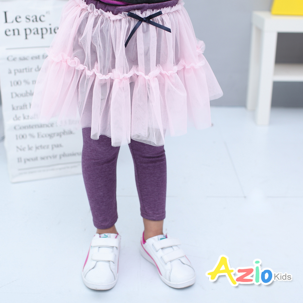 Azio Kids童裝-內搭褲裙蝴蝶結網紗鬆緊內搭褲裙紫