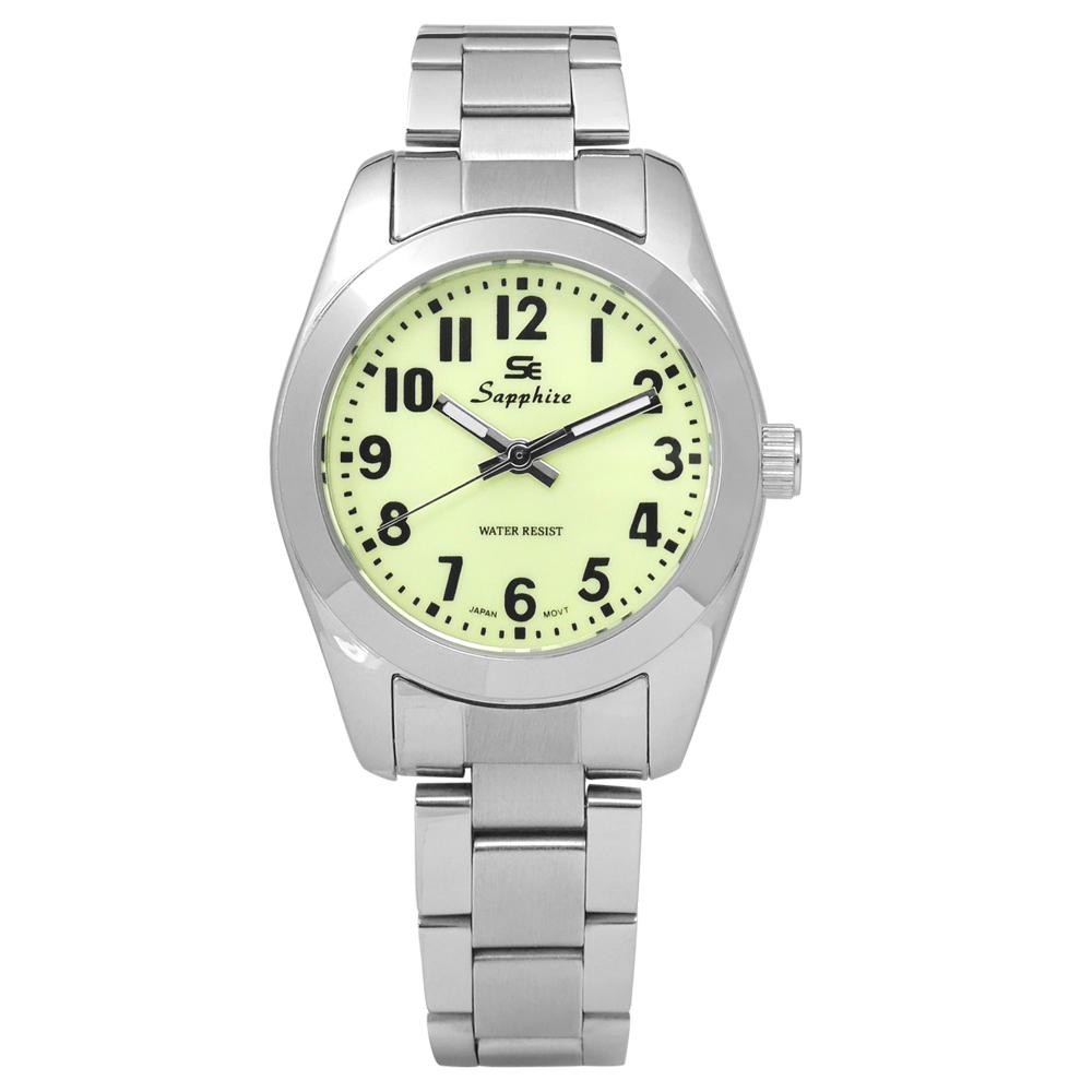 Sapphire 簡潔大方夜光藍寶石水晶不鏽鋼手錶-淺綠色/29mm