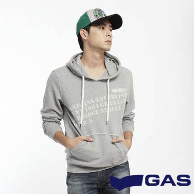 GAS-簡約淡定-字母印花街頭風潮素面附帽長袖厚T-灰-男款