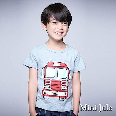 Mini Jule 童裝-上衣 雙窗汽車竹節棉短袖T恤(藍)