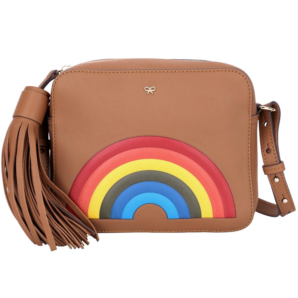 ANYA HINDMARCH Rainbow 彩虹皮革流蘇斜背包(棕色)