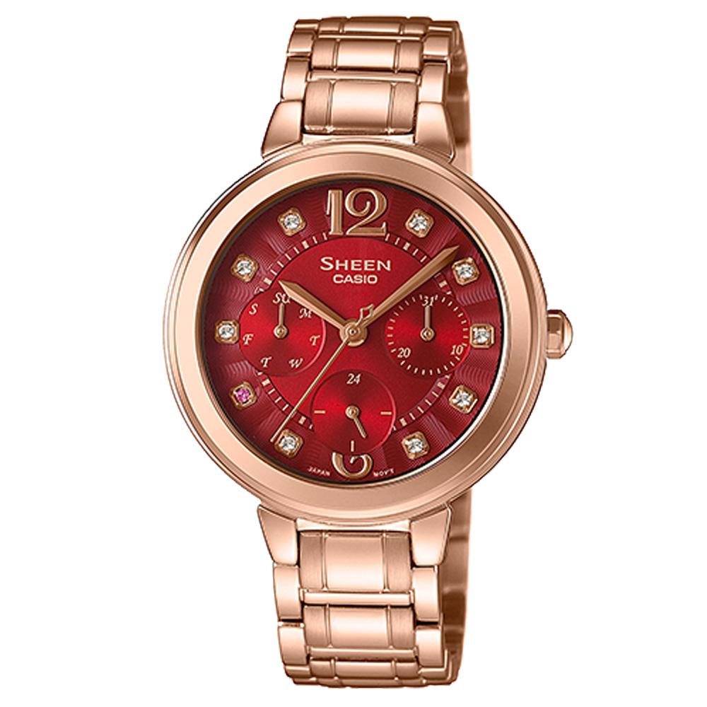 SHEEN 華麗之美水晶時刻玫瑰金腕錶(SHE-3048PG-4A)/紅X玫瑰金34mm