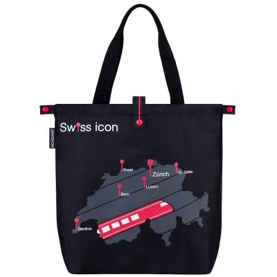 MONDAINE 瑞士國鐵圖騰旅行摺疊肩背包-瑞士地圖火車