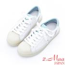 2.Maa - 小可愛綁帶貝殼頭牛皮小白鞋 - 藍