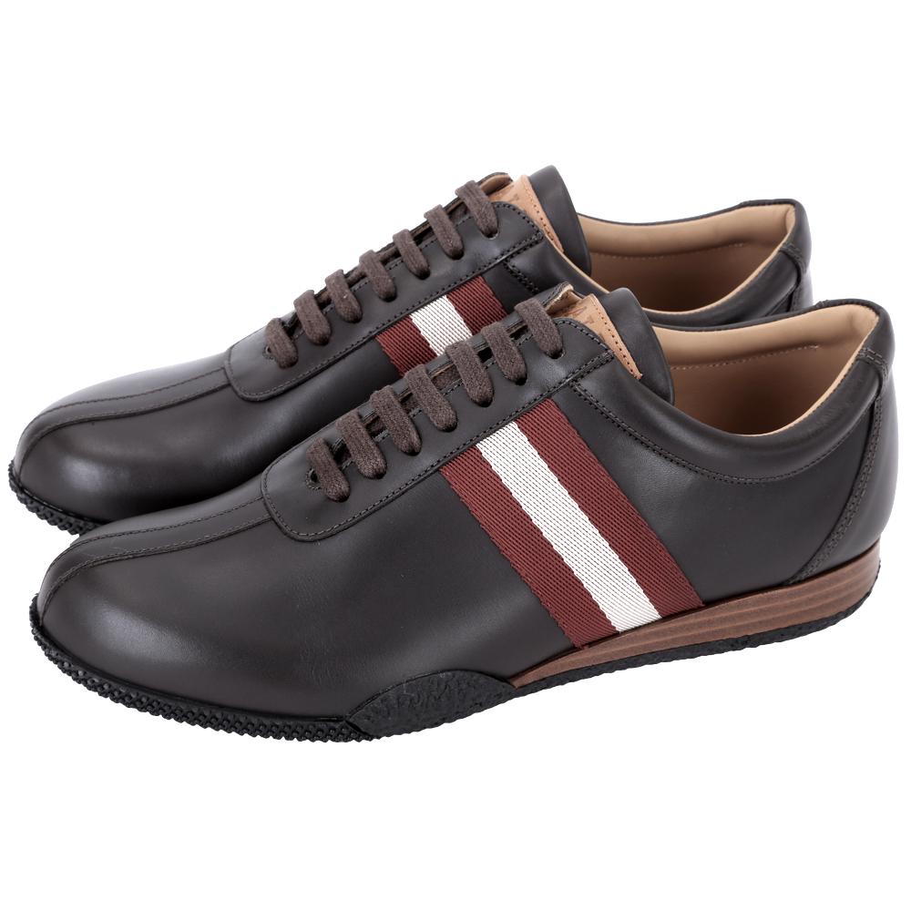 BALLY FRENZ 經典織帶拼接牛皮綁帶休閒鞋(咖啡色)