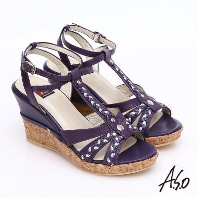 A.S.O 輕音躍 牛皮拼接雙色編織帶楔型涼鞋 紫色