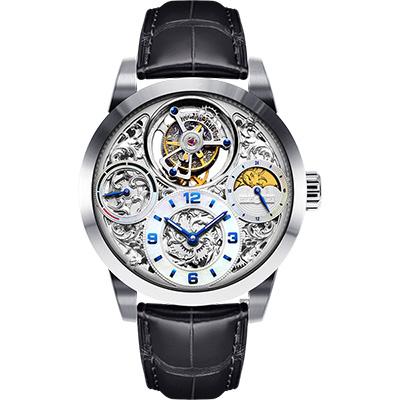 MEMORIGIN 萬希泉 星空傳奇尊爵版陀飛輪腕錶-銀x黑/43mm